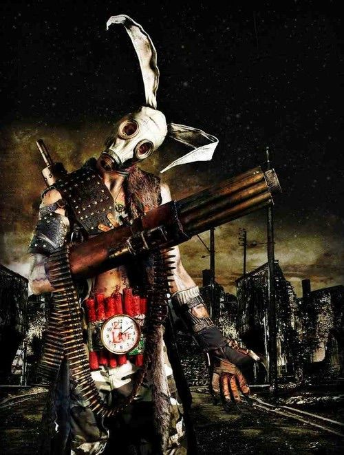 Image via We Heart It #creepy #gasmask #rabbit
