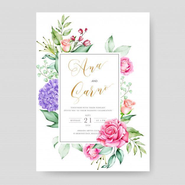 Wedding Invitation Card Template Watercolor Floral Frame Wedding Invitation Cards Wedding Invitation Card Template Wedding Card Templates