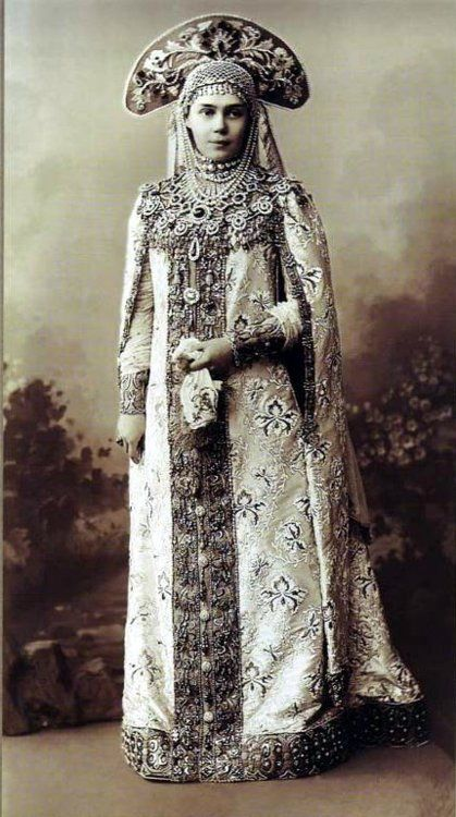 Grand Duchess Ksenija Aleksandrova sister of Tsar Nicholas II during the costume ball at the Winter Palace in 1903.