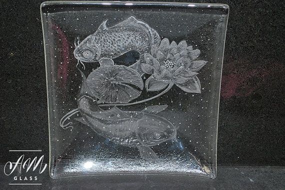 Hand engraved fused glass dish by AMGlassStudio on Etsy