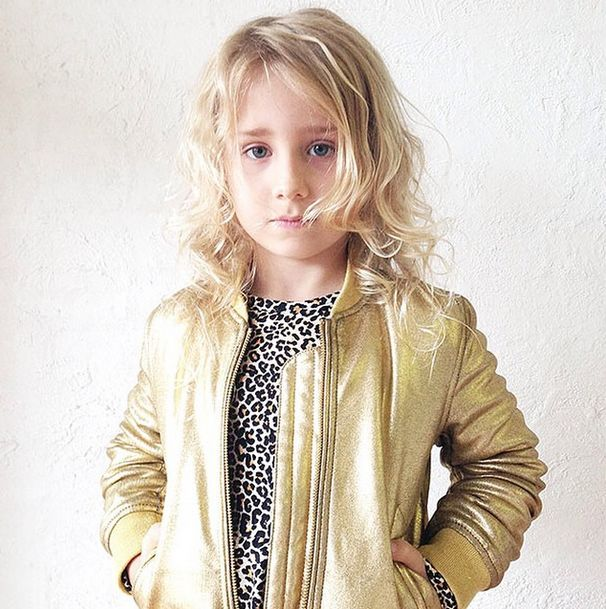 Betty glowing in the new Rock your Kid Gold Bomber jacket and Leopard Print long sleeve dress. RYK AW2015