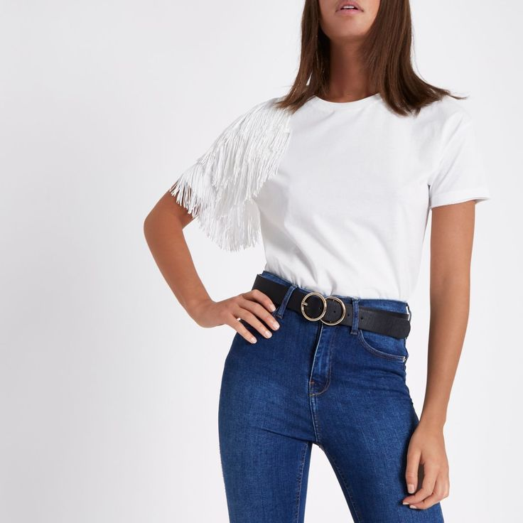 White fringe shoulder T-shirt