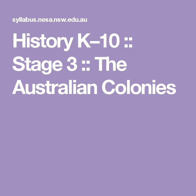 History K–10 :: Stage 3 :: The Australian Colonies
