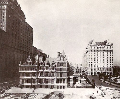 Vanderbilt mansion prior to demolition in 1927. Plaza Hotel on right.