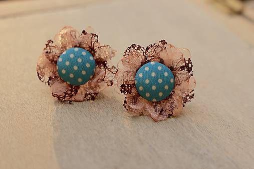 Martinuska / Kvietky s čipkou/organza earrings