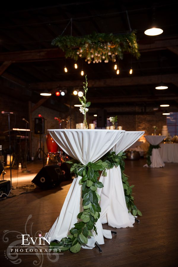 Greenery Ties on Cocktail Tables, White Linens | Event Rentals from Southern Events Party Rental Company, Nashville Wedding at Houston Station, Evin Photography #ringrentparty
