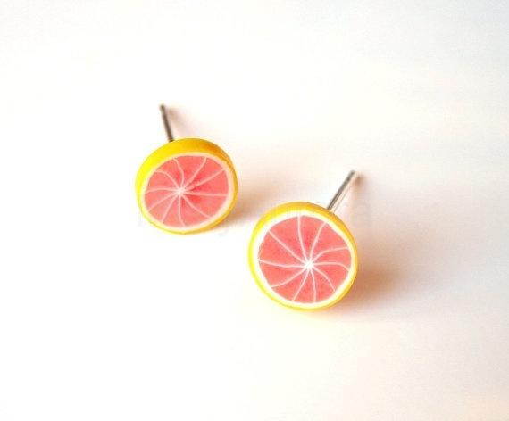 Pink and Yellow Grapefruit Slice Stud Earrings by MistyAurora