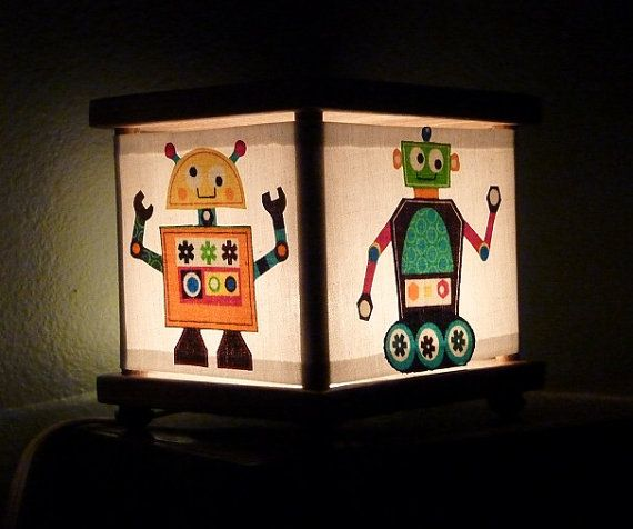 Robot Night Light Lamp Robot Nursery Decor Room by babymamma1, $23.00
