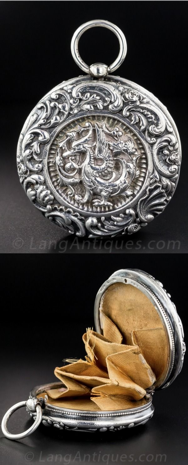Gorham sterling silver coin purse in the form of a yo-yo, with dragon motif on one side - Providence, circa 1887.