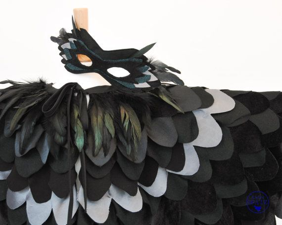 Children's Raven Costume  Kids Maleficent Costume  Crow