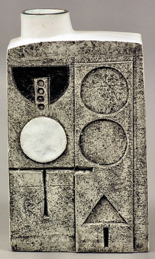 Just an incredible square bottle form from Troika pottery, Cornwall, England. 1970