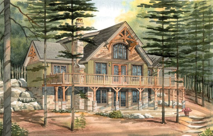 Timber frame Combination house Timber frame entry porch Colorado Overhang Exterior timber truss detailing Shed dormers Wrap around deck Timber frame cathedral ceiling great room Timber frame screened porch off dining room Main floor master suite with walkout Bedroom suite with sitting area on upper loft Walkout basement level offers additional 1344 sq.ft. living space …