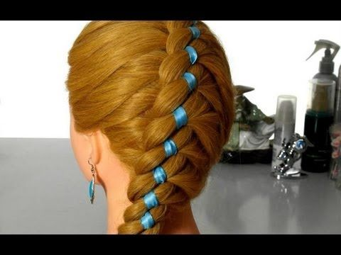 ▶ four strands diagonally. Weaving braids with ribbon. - YouTube I've mastered this braid!! I love it.