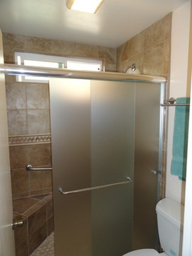 Sliding Frosted Gl Shower Doors Bathroom Pinterest And