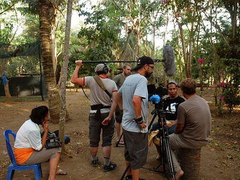 film crews from the US's Born to Explore with Richard Wiese interviewing FNPF's director at FNPF's Community Centre on Nusa penida island