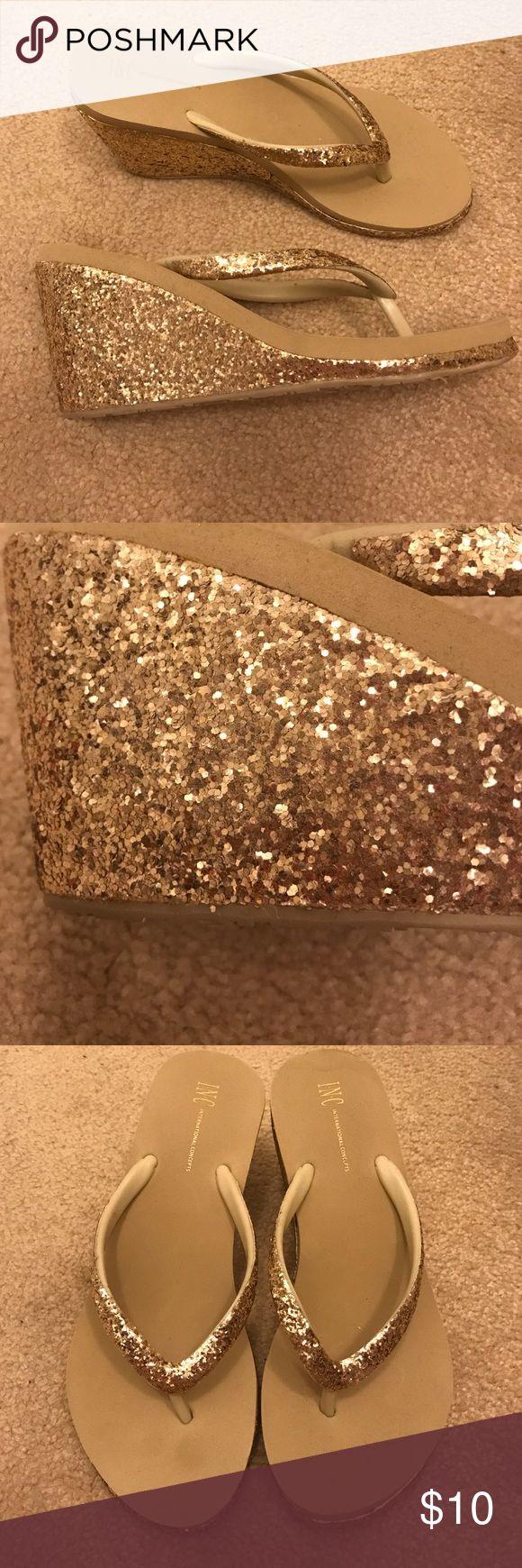 Gold glitter platform flip flops Never worn gold glitter platform flip flops- they're a lot of fun! Shoes