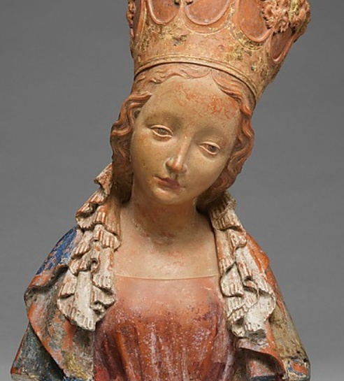Bust of the Virgin  1390-1395  Bohemian. Terracotta with polychromy.  http://www.metmuseum.org/Collections/search-the-collections/70018570