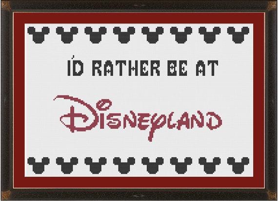 I'd rather be at Disneyland --- cute cross-stitch pattern