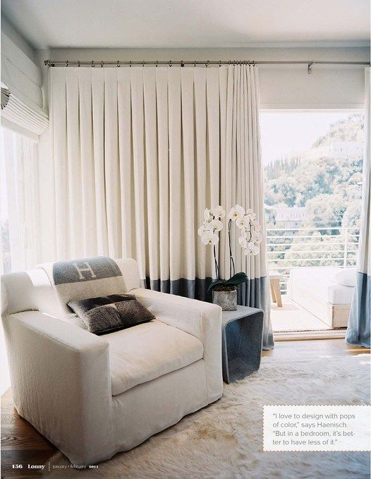 """Inverted box pleat draperies - Drapery panels made with an inverted box pleat are double the fullness of the window. So they always look full and luxurious. When you close these drapes, the top of the panel is smooth and flat (creating a clean modern look). Then, when they're open? The box pleats stack PERFECTLY. They never look fussy, or """"old lady""""... I love this tailored style."""