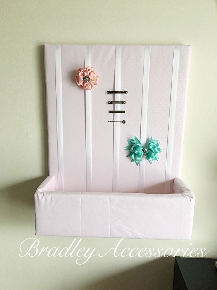 Pink Polka Dot Hair Bow Holder with Shelf,  Pink Hair Bow Organizer, Hair Accessories, Organizer, Storage, Shelf,  16x20 Hair Bow Holder by BradleyAccessories on Etsy https://www.etsy.com/listing/507083962/pink-polka-dot-hair-bow-holder-with