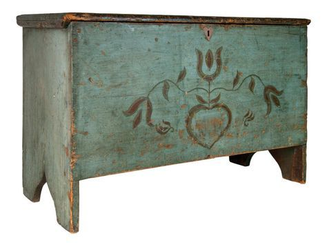"New England 19th century painted blanket chest, 23-1/2"" H x 36"" W x 16-1/2"" D."