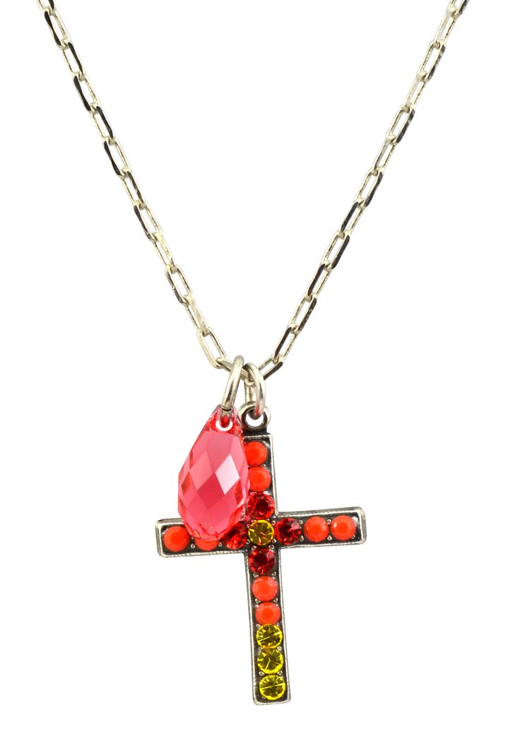"""Strength"" Silver Plated Swarovski Crystal Cross Necklace"