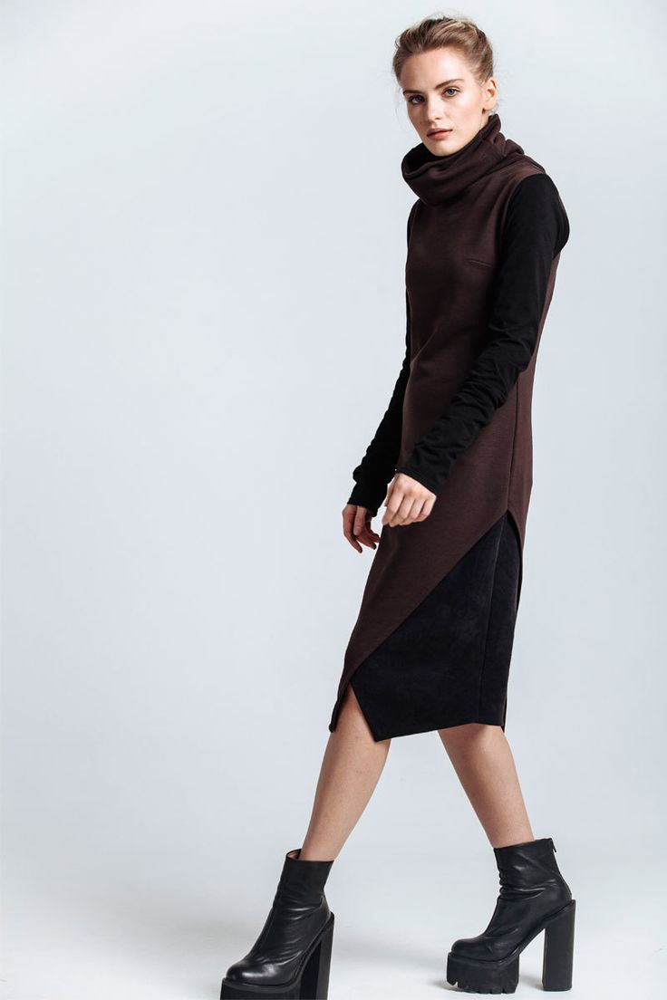 Dress with high warm collar and insulated top. Symmetrical cut and geometric details visually lengthen the silhouette. The lower part consists of two separate asymmetric parts of different colors - brown as the basic color and black as the additional one.   #mariashi #fashion #nofilter #outfit #outfitoftheday #outfits #outfitpost #clothes #fashionista #fashiondesigner #shopping