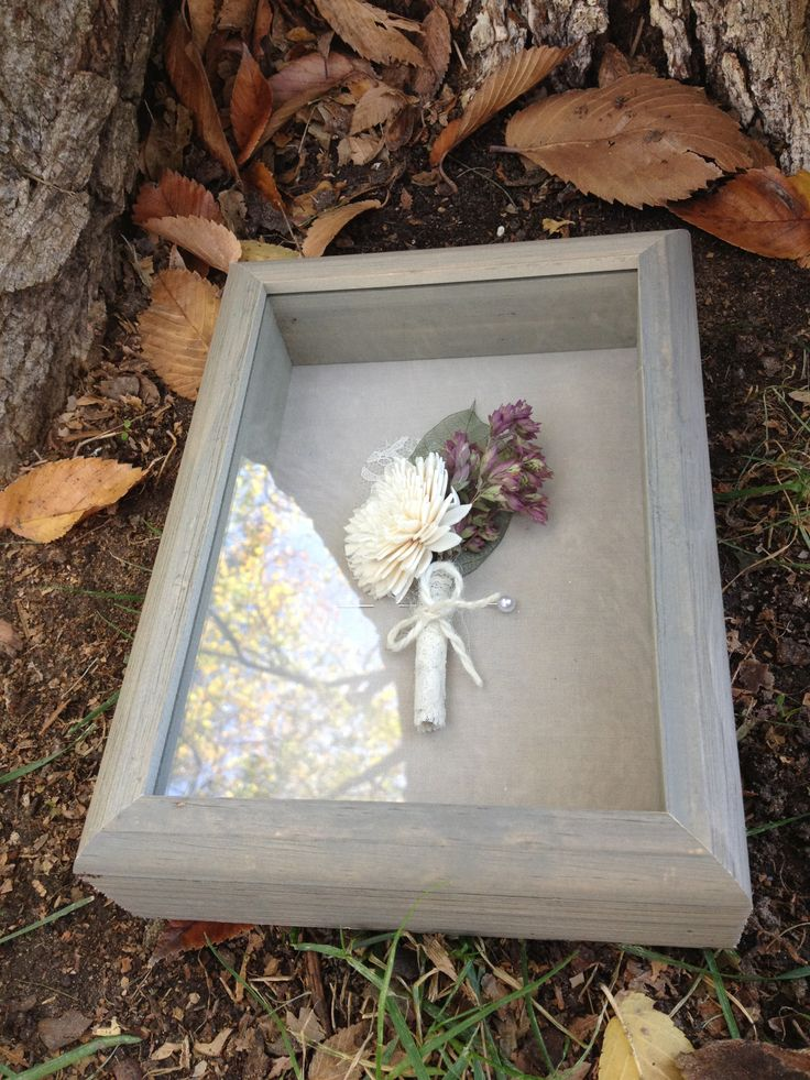 Wooden shadow boxes to house your fragile rustic boutonnieres and corsages.