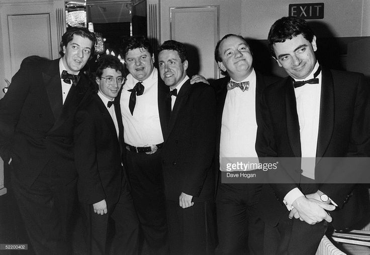 Stephen Fry, Ben Elton, Robbie Coltrane, Griff Rhys-Jones, Mel Smith and Rowan Atkinson, circa 1990.