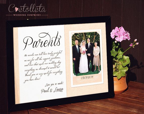 wedding frame for parents parent wedding gift ideas party parent gifts ...