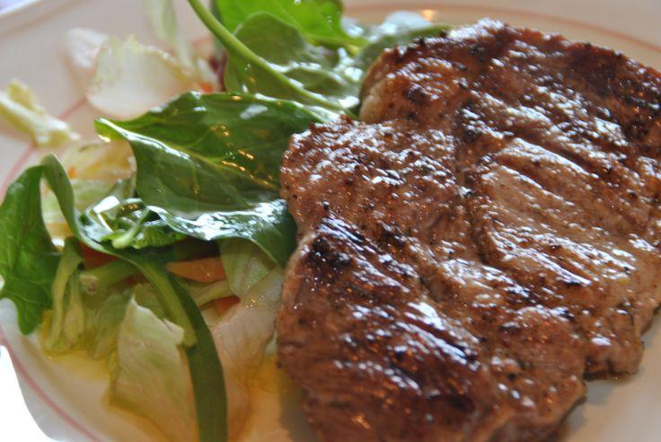 pork steak and fresh salad