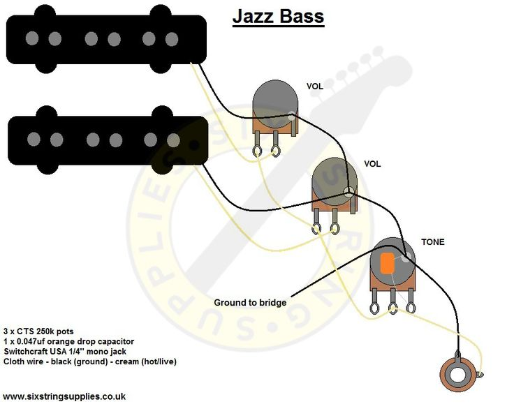 bass guitar two pickup wiring diagram