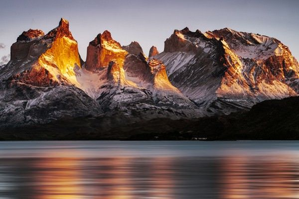 Torres and Cuernos del Paine at sunrise, Torres del Paine National Park, Chile