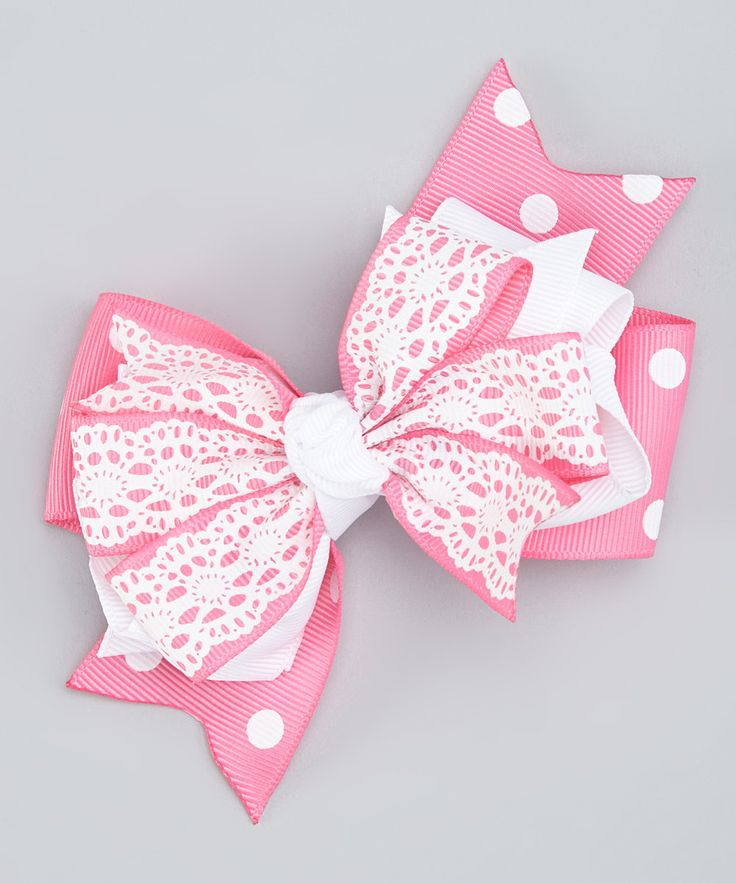 Look at this Bubbly Bows Pink Lace Triple-Layer Bow Clip on #zulily today!