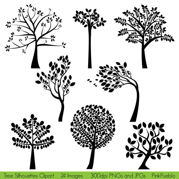 Tree Silhouettes Clipart Clip Art  Commercial and by PinkPueblo, $6.00