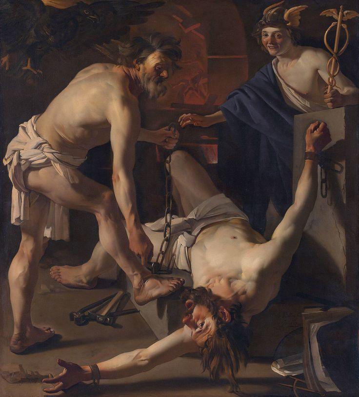 Óleo en lienzo de Dirck van Baburen: Prometeo encadenado por Vulcano (Prometheus door Vulcanus geketend, 1623). Museo Nacional de Ámsterdam.