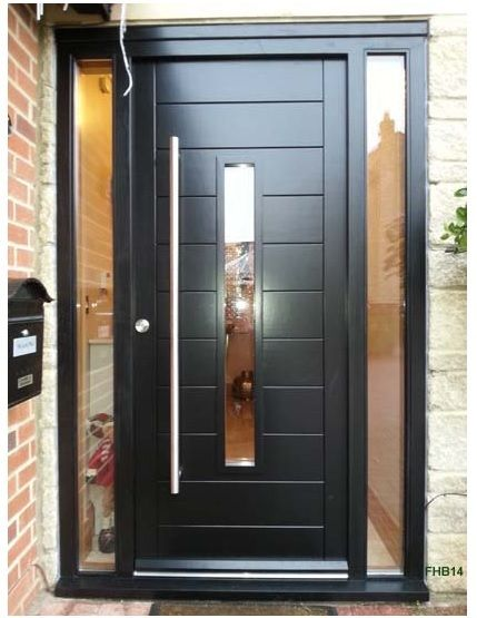 Bespoke contemporary door and frame with fully glazed sidelights. Factory spray painted black, delivered all UK areas and installation in many.