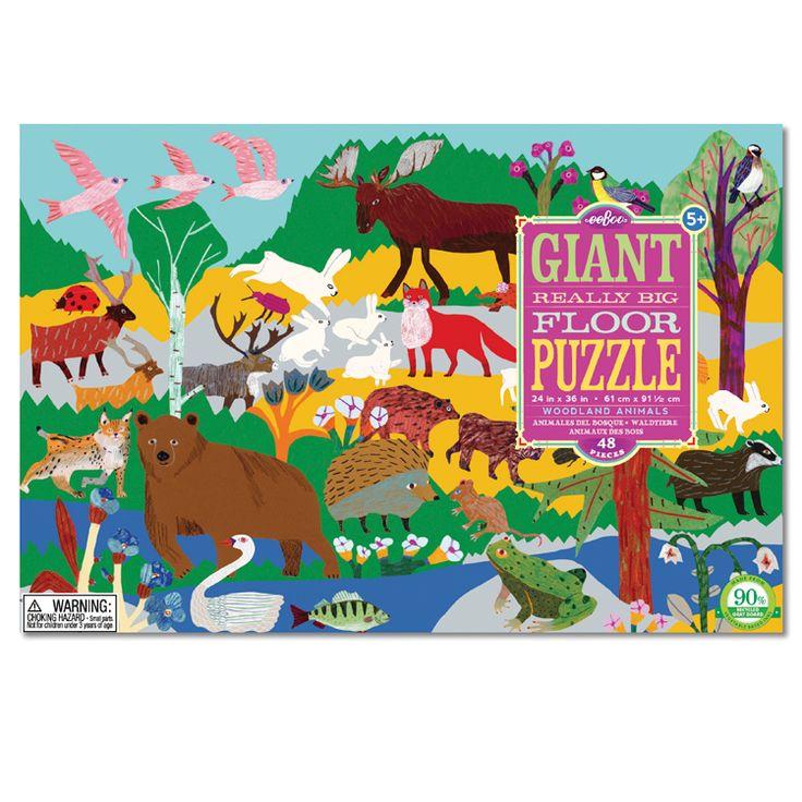 Opravdu velké podlahové puzzle s motivy zvířat, které žijí v lese. Krasně ilustrované.