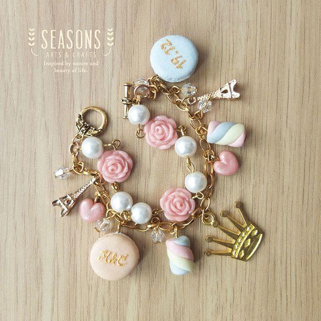 Sweet bracelet for sweet person. Custom request by our lovely customer. #handmadebracelet#macaronclay#marshmallowclay#eiffelcharm#braceletcharm#handmadejewelry