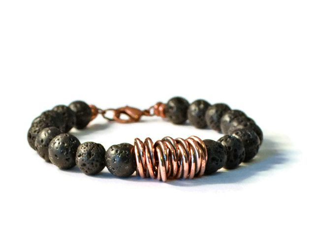 This Aromatherapy Bracelet is handcrafted with Lava Rock Stones with Antique Copper Twisted beads that have placed in the center of the bracelet. The clasp is an Antique Copper Lobster clasp. Bead siz