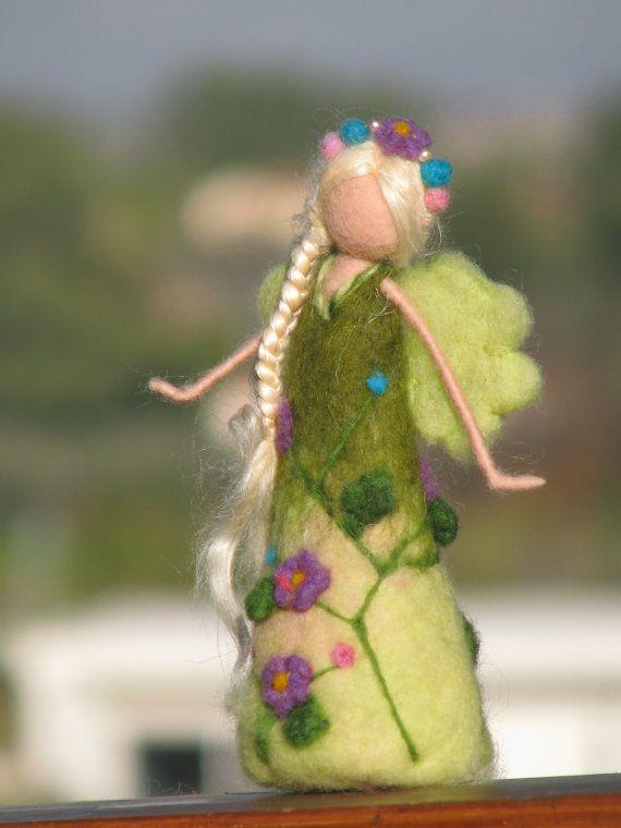 Waldorf inspired needle felted garden fairy