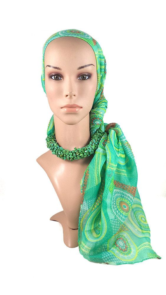 Green Retro Style Scarf With Green Turquoise Gemstones by Mizteek