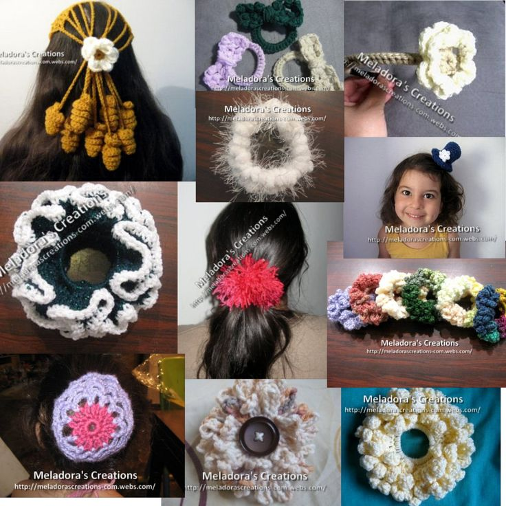 14 free Crochet Patterns and tutorials for Easy to make Hair Accessories - by Meladora's Creations
