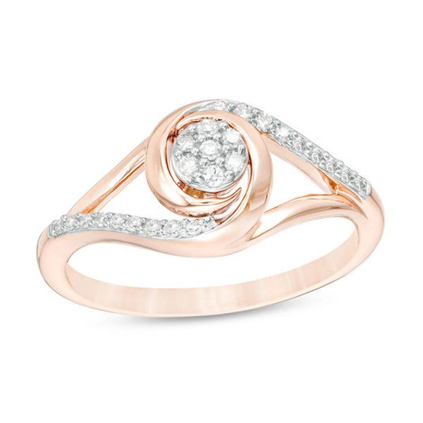 1 6 Ct T W Composite Diamond Swirl Split Shank Promise Ring In 10k Rose Gold In 2020 Promise Rings Diamond Promise Rings Rose Gold