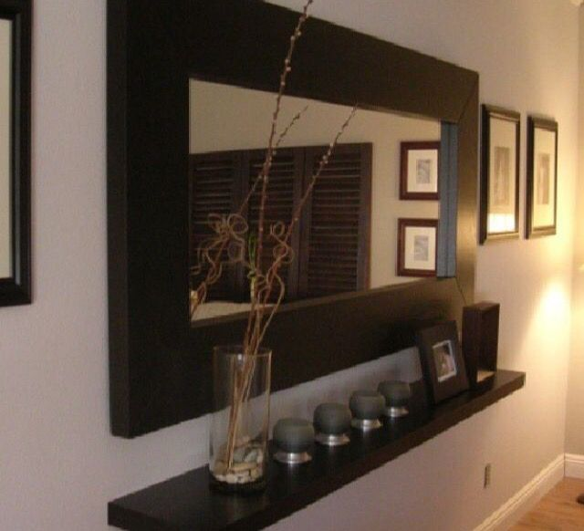 25 best ideas about narrow hallway decorating on for Hallway mirror and shelf