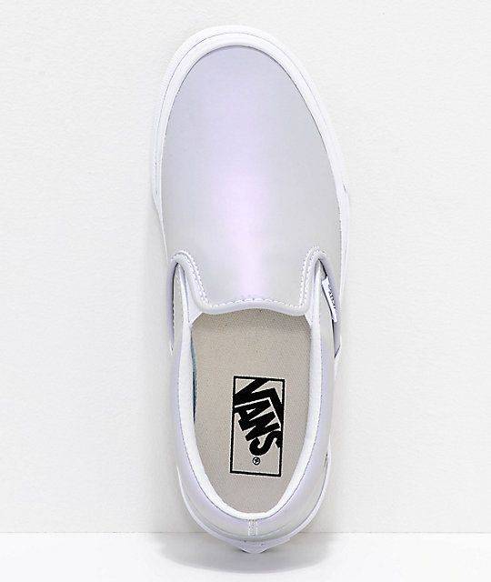 Vans Slip-On Iridescent Muted Metallic Grey   White Skate Shoes in ... 433175b4f