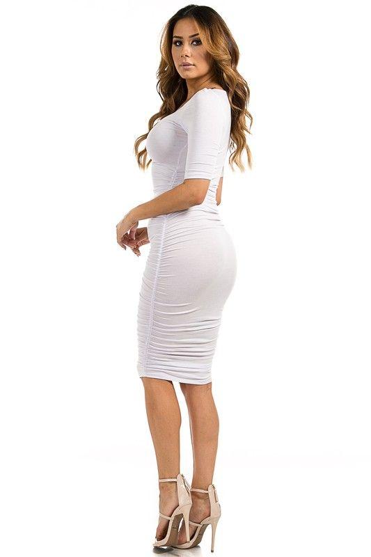 Kimberly White Ruched Midi Dress