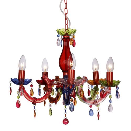 Mini Multi Coloured Marie Therese 5 Way Ceiling Light Fitting Gypsy Chandelier