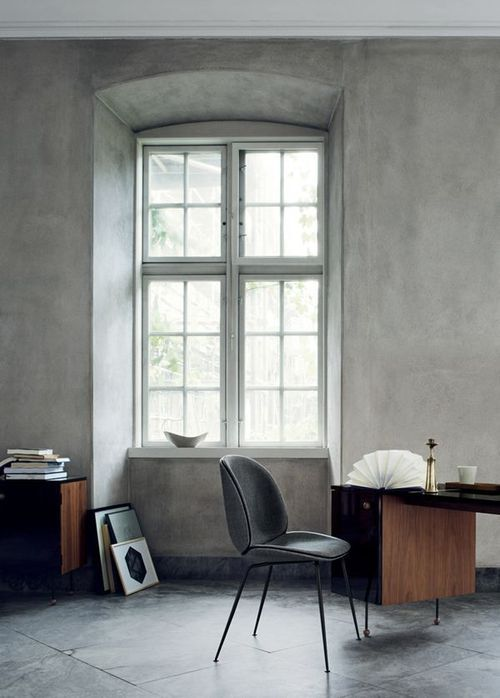 All gray office | tall ceiling, french windows + dark wood furniture