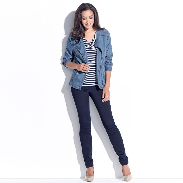 MARISSA CASUAL BIKER JACKET - Chambray. Polyester Chambray (Lined).This collarless chambray jacket is cut from a light weight stretch Lyocell fabric. Its soft neckline can be worn both open or zipped up as the perfect layering piece.